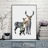 Silhouette of Deer Family with Pine Forest Canvas Art Print Painting Poster, Wall Picture for Home Decoration