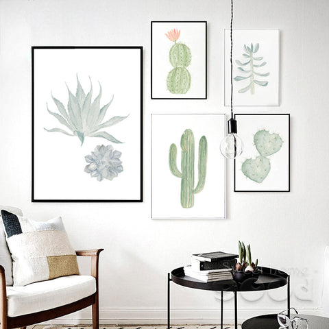 Watercolor Succulent Canvas Art Print Painting Poster,  Cactus set Wall Pictures for Home Decoration