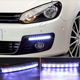 1 Pair Car Daytime Running Lights DRL 8 LED DC 12V Auto Fog Lamps Turn Braking Signal Indicators Car Styling Light Source