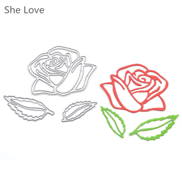 3pcs Metal Dies Cut Stencils Rose Flower Die Cutting Dies Scrapbooking Embossing Decorative Craft