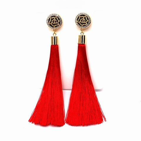 Gold plated tassel long earrings for women bijoux fashion jewelry red, black, blue colors