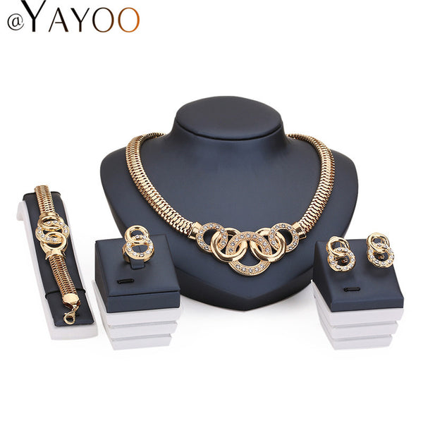 Jewelry Sets For Women African Beads Gold Plated Wedding Necklace Bracelet Imitation Crystal Earrings Rings Accessories