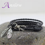 Fashion Jewelry PU Leather Charm Friendship Bracelets & Bangles Feather Accessories Men Jewelry