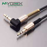 3.5mm jack aux cable 3.5mm male to male 90 degree right angle flat audio cable for car / PM4 PM3 / headphone aux cord