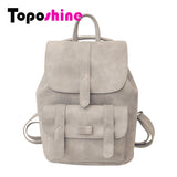Toposhine Famous Brand Backpack Women Backpacks Solid Vintage Girls School Bags for Girls Black PU Leather Women Backpack