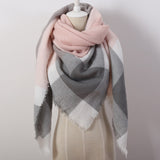 Designer Cashmere Triangle Pink Scarf Winter Women Shawl Pashmina Cape Blanket Plaid