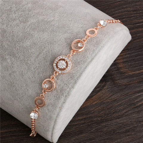 18K Rose Gold Plated Chain Link Bracelet for Women Shining AAA Cubic Zircon Crystal Jewelry Gift