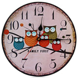 European Style Vintage Creative Forest Owl Round Wood Wall Clock Quartz Bracket Kitchen Clocks Decoration Decor