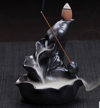 Chinese Pottery Crafts Creative Home Decor Lotus Pond Smoke Back Flow Cone Incense Sticks Burner Censer