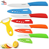 "FINDKING Zirconia kitchen knife set Ceramic Knife set 3"" 4"" 5"" 6"" inch with Peeler & Covers"