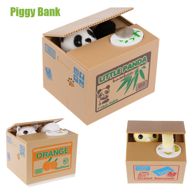Automatic Coin Piggy Bank Panda Yellow / White Cat Money Box 11.5x9.5x9cm Money Saving For Kids