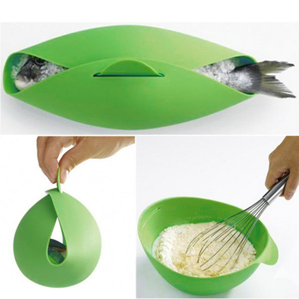 Silicone Fish Kettle Folding Steamer Microwave Poacher Cooker Food Vegetable Bowl Basket Kitchen Cooking Tool