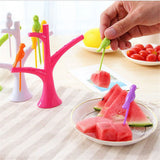 Easy Bird Fruit Snack Dessert Forks & Tree Shape Holder For Party or Home Decor