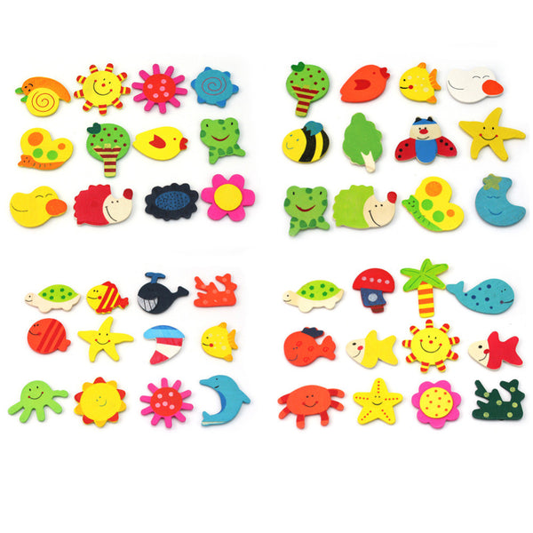 24pcs Colourful Fridge Magnet Wooden Cartoon Animals Novelty Cute Fun Kids Toy