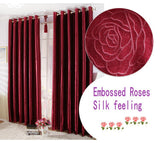 Embossed Roses/short/long Curtains For living Room/ Bedroom Blackout Curtains Window Drapery Burgundy Golden Solid