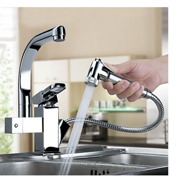Luxury Pull Out Sprayer Single Handle Hole Kitchen Faucet Deck Mounted Chrome Brass Vessel Sink Mixer Tap Dual Spouts