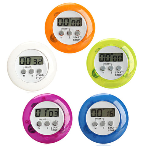 5 Color Digital Alarm Clock Round Magnetic LCD Digital Kitchen Countdown Timer Alarm With Stand Kitchen Timers