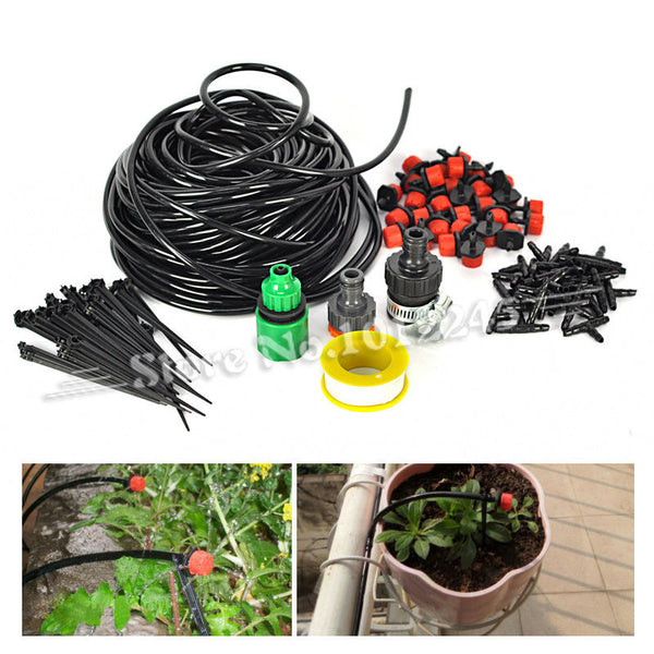 25m DIY Micro Drip Irrigation System Plant Automatic Self Watering Garden Hose Kits with Connector+30x Adjustable Dripper