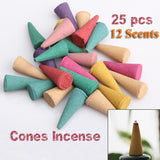 25 Mix Colorful Fragrance Triple Scent Incense Cones Home Decor Potpourri