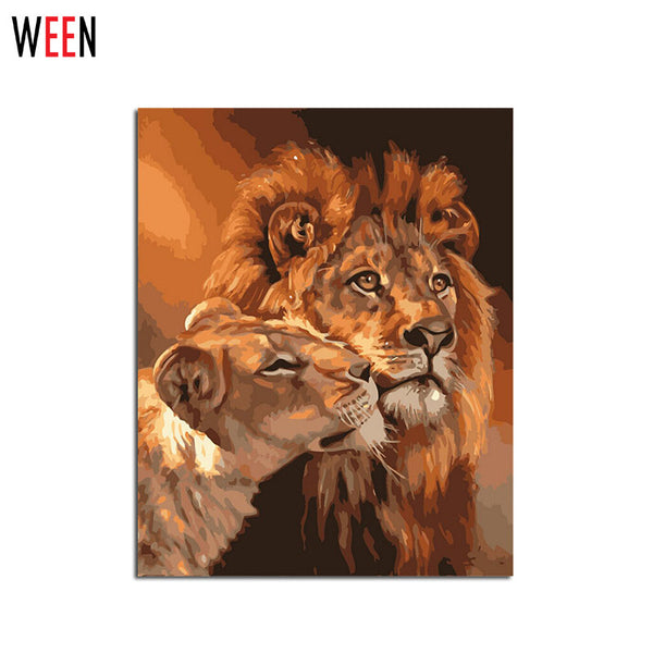 Frameless Lion Kings DIY Coloring Oil Painting By Numbers Kits Drawing Paint On Canvas For Wall Art Picture