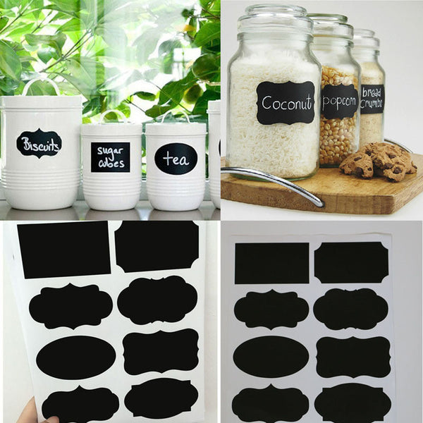 40PCS Wedding Home Kitchen Jars Blackboard Stickers Chalkboard Labels
