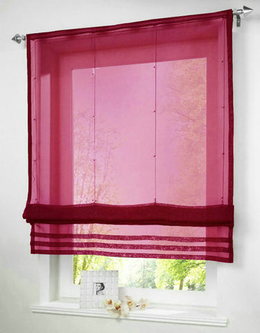 Solid Color Sheer Voile Roman Blinds Curtain For Balcony Kitchen Rod-packet 1PC