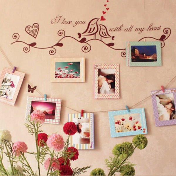 8pcs 6inch Rectangle Paper Photo Frame Wall Picture Album DIY Hanging Rope Frame