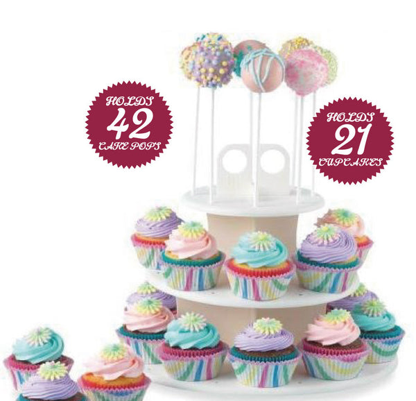 High Quality 3 Tiers Snack Server 21pcs Cupcake Stand,42pcs Cake pop Stands,Lollipop Holder,white,round