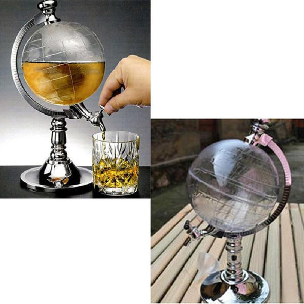 Novelty Globe Shaped Beverage Liquor Dispenser Drink Wine Beer Canister Pump