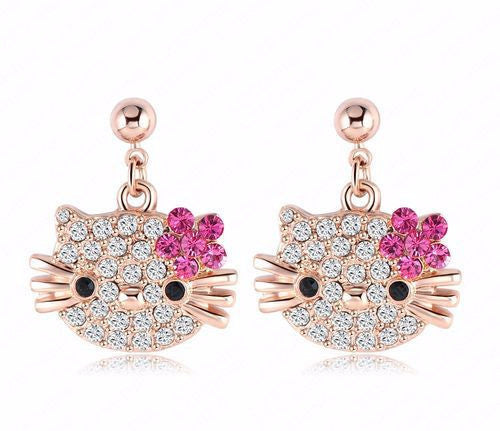 Cat Flower Stud Earrings 18K Rose Gold Plated with Austrian Crystal
