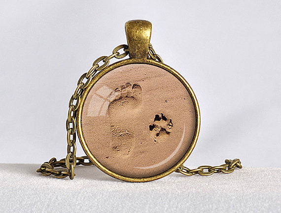 Dog Paw Footprint Pendant Necklace