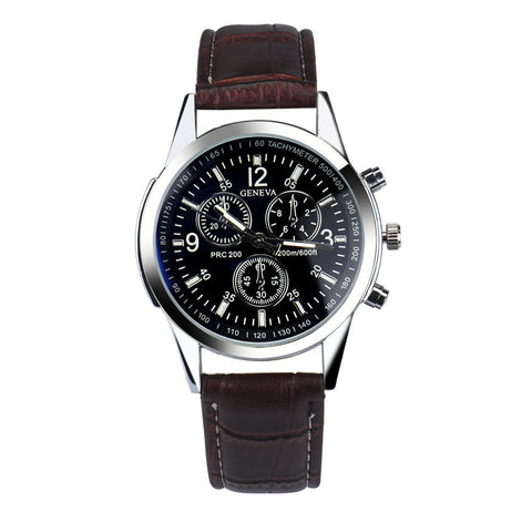 Blue Ray Dial Quartz Glass Faux Leather Watch