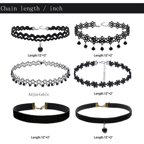 4 Pcs  / 6 Pcs Choker Necklace Set