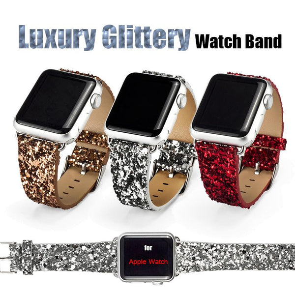 Glittery PU Leather Watch Band for Apple Watch