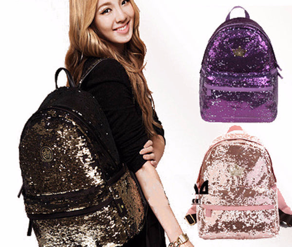 Colorful Bling Sequence Crown Canvas Backpack