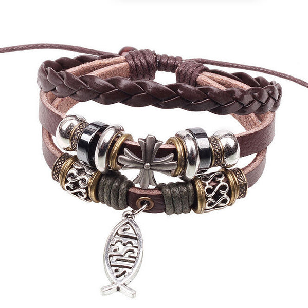 Genuine Leather Fish Jesus Charm Bracelet
