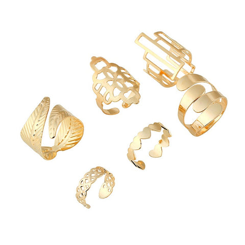 6Pcs Punk Metal Gold Plated Ring Set
