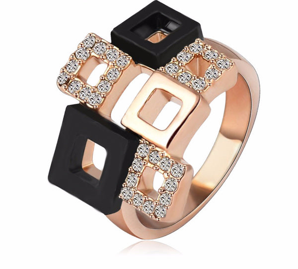 Geometric Crystal Rings 18K Rose Gold/Platinum Austrian Crystal
