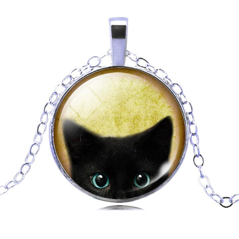 Cat Vintage Glass Bronze Chain Necklace