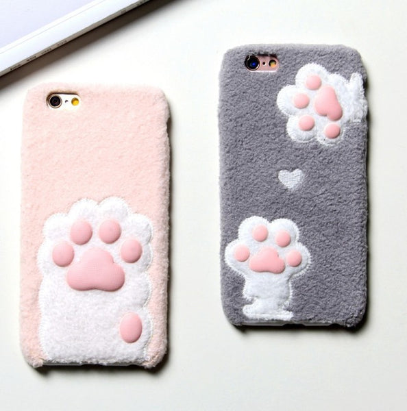 Kitty Paw Furry Plush Soft Case iPhones