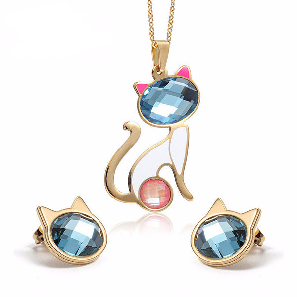 Gold Cat Crystal Jewelry Set