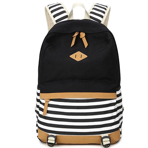 Canvas Striped Printed Backpack