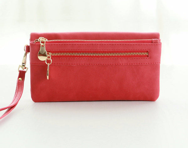 Leather Wallet Double Zipper Day Clutch