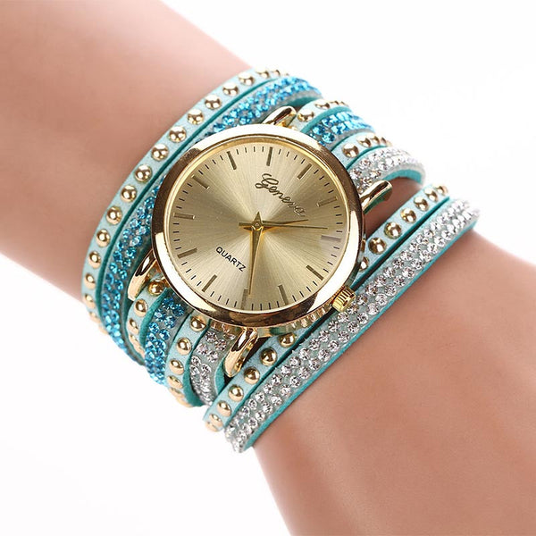Crystal Bling Leather Quartz Watch - FREE + Shipping!
