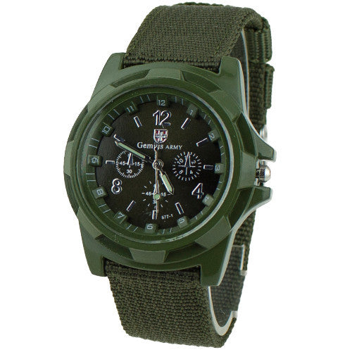 Canvas Belt with Fabric Strap Luminous Army Wrist Watch