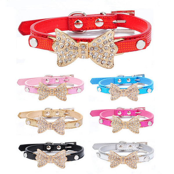 Crystal Leather Bow Dog Collar