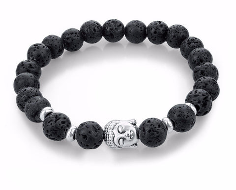 Black Lava Stone Bead Buddha Bracelet FREE Shipping with 3 or More! - Passion Promos