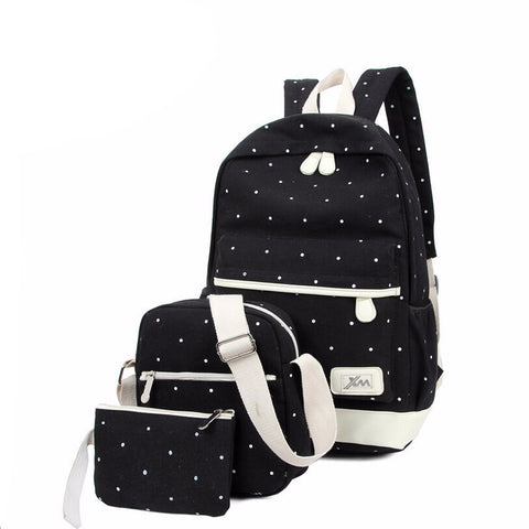 3 Set Polka Dot Backpack with Extra Travel Bags
