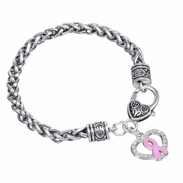 Breast Cancer Awareness Crystal Heart Survivor Bracelet
