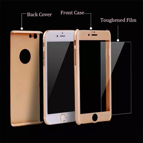 360 Degree Shockproof Hard Case For iPhones + FREE Tempered Glass